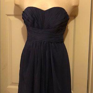 David's Bridal Strapless Chiffon Pleated Gown